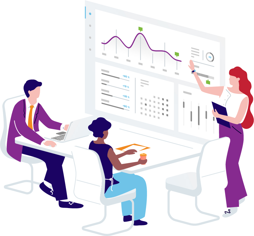 Partners viewing charts deciding on actionable insights