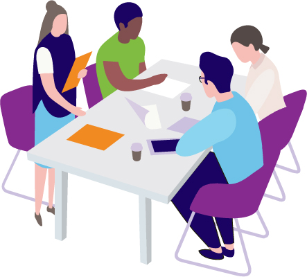 Partners collaborating around a table